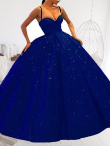 Royal Blue Sequin Pockets Spaghetti Strap Skater Tutu Wedding Banquet Party Maxi Dress