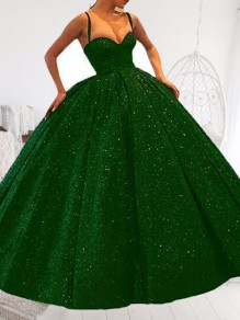 Green Sequin Pockets Spaghetti Strap Skater Tutu Wedding Banquet Party Maxi Dress