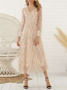 Apricot Patchwork Grenadine Tassel Sequin Deep V-neck Flowy Bridesmaid Banquet Party Maxi Dress