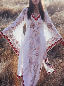 White Floral Embroidery Flare Sleeve Distressed Irregular Bohemian Maxi Boho Dress