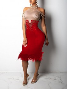 Red Patchwork Grenadine Rhinestone Feather Bodycon Sparkly Glitter Birthday Prom Evening Party Maxi Dress
