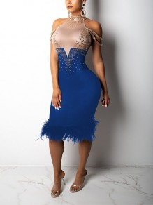 Blue Patchwork Grenadine Rhinestone Feather Bodycon Sparkly Glitter Birthday Prom Evening Party Maxi Dress