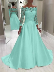 Green Lace Fashion One Piece Cocktail Party Maxi Dress