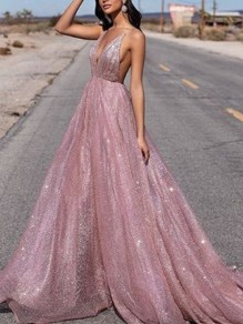 Pink Sequin Print Fashion One Piece Maxi Dress