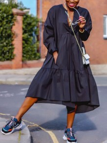 Black Pleated Pockets High-Low V-neck Casual Maxi Dress