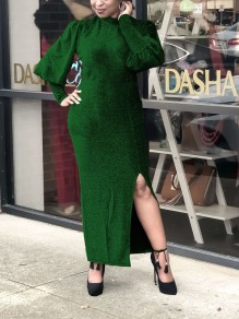 Green Bright Wire Bodycon Front Slit Lantern Sleeve Sparkly Glitter Birthday Prom Evening Party Maxi Dress