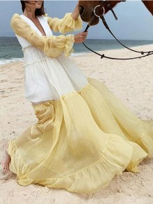 Yellow Gradient Pleated V-neck Bohemian Beach Maxi Dress
