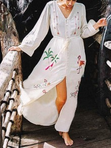 White Embroidery Buttons Drawstring Front Slit Bohemian Boho Beach Maxi Dress