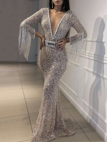 Silver Patchwork Sequin Tassel Deep V-neck Mermaid Sparkly Banquet Party Maxi Dress