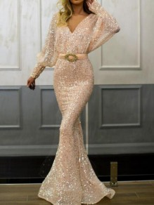 Champagne Sequin Deep V-neck Backless Lantern Sleeve Mermaid Wedding Banquet Party Maxi Dress