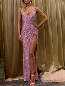 Pink Sequin Irregular Spaghetti Strap Side Slit Wedding Bridesmaid Banquet Party Maxi Dress