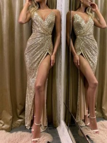 Champagne Sequin Irregular Spaghetti Strap Side Slit NYE Wedding Bridesmaid Banquet Party Maxi Dress