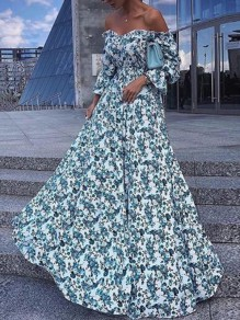 Light Blue Floral Off Shoulder Backless Draped Flowy Bohemian Maxi Dress