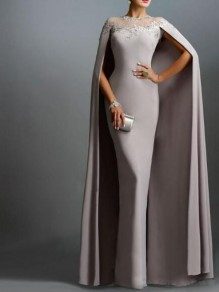 Grey Patchwork Lace Mermaid Cape Single Breasted Banquet Party Maxi Dress