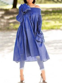 Dark Blue Ruffle Irregular Off Shoulder Backless High-low Flare Sleeve Distressed Maxi Dress