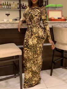 Brown Leopard Print Sashes Floor Length Bodycon Banquet Party Maxi Dress