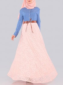 Pink Patchwork Lace Denim Single Breasted Muslim Flowy Vintage Maxi Dress