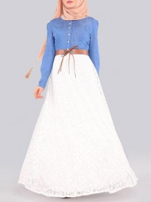 White Patchwork Lace Denim Single Breasted Muslim Flowy Vintage Maxi Dress