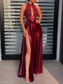 Burgundy Patchwork Grenadine Sequin Halter Neck Side Slit Banquet Party Maxi Dress