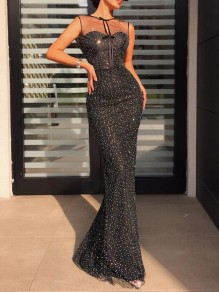 Black Patchwork Grenadine Sequin Mermaid Sparkly NYE Banquet Party Maxi Dress