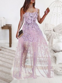Light Pink Grenadine Sequin Spaghetti Strap Skater NYE Banquet Party Maxi Dress