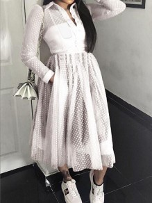 White Polka Dot Grenadine Pockets Single Breasted Turndown Collar Sheer Banquet Party Maxi Dress