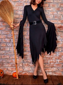 Black Irregular Pleated Bell Sleeve V-neck Witch Costumes Gothic Maxi Dress