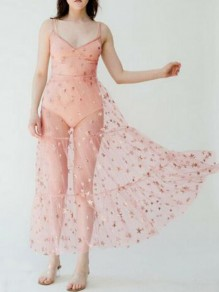 Pink Star Grenadine Bronzing Spaghetti Strap Sheer NYE Flowy Banquet Party Maxi Dress