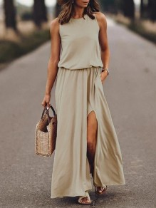 Khaki Patchwork Draped Side Slit Sleeveless Fashion Maxi Dress
