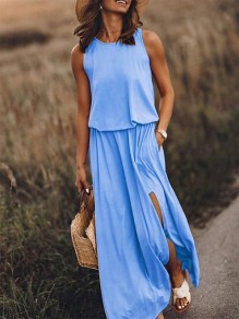 Blue Patchwork Draped Side Slit Sleeveless Fashion Maxi Dress