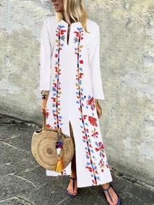 White Floral Round Neck Sleeveless Fashion Beach Maxi Dress