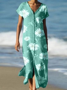 Green Flowers Pattern Single Breasted V-neck Fashion Maxi Dress