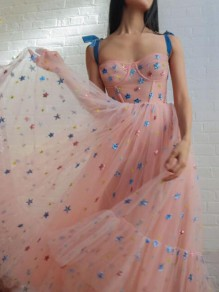 Pink Star Bright Wire Spaghetti Strap Ruffle High Waisted Elegant Party Maxi Dress