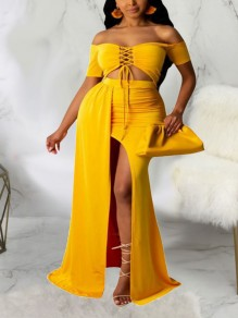 Yellow Off Shoulder Lace-up Two Piece Thigh High Side Slits Bohemian Beach Party Maxi Dress