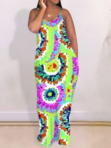 Green Sauce Tye Dye Neon Tie Dyeing Spaghetti Strap Pleated Pockets Bohemian Beach Party Maxi Dress
