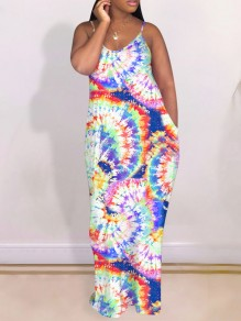 Green Rainbow Sauce Tye Dye Neon Tie Dyeing Spaghetti Strap Pleated Pockets Bohemian Beach Party Maxi Dress