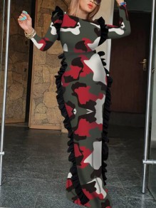 Red Camouflage Print Ruffle Floor Length Bodycon Banquet NYE Party Maxi Dress
