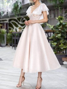 Pink Patchwork Grenadine Pleated V-neck Tutu Prom Evening Party Maxi Dress