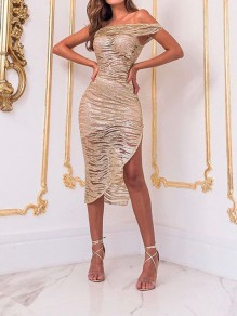 Golden Grenadine Bright Wire Off Shoulder Irregular Bodycon Sheer Party Prom Midi Dress