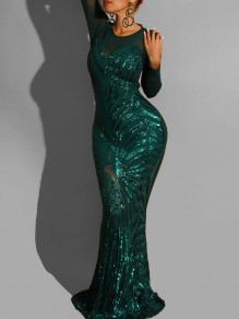 Green Patchwork Grenadine Sequin Bodycon Mermaid Sparkly Glitter Birthday Sheer Prom Evening Party Maxi Dress