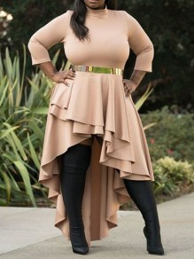 Apricot Cascading Ruffle Pleated Irregular High-Low Plus Size Party Maxi Dress