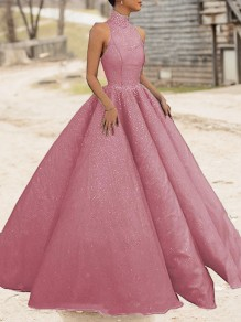 Pink Bright Wire Pleated Big Swing Sparkly Glitter Birthday Prom Evening Party Maxi Dress