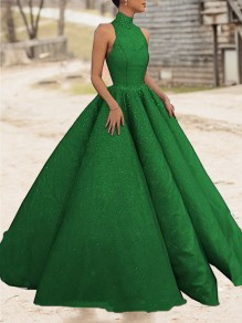 Green Bright Wire Pleated Big Swing Sparkly Glitter Birthday Prom Evening Party Maxi Dress