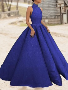 Sapphire Blue Bright Wire Pleated Big Swing Sparkly Glitter Birthday Prom Evening Party Maxi Dress
