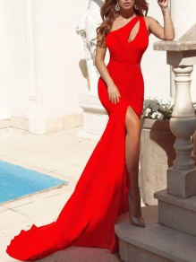 Red Asymmetric Shoulder Cut Out Side Slits Bodycon Mermaid Prom Evening Party Maxi Dress