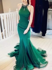 Green Halter Neck Grenadine Bodycon Mermaid Prom Evening Party Maxi Dress