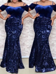 Navy Blue Patchwork Sequin Off Shoulder Bodycon Mermaid Sparkly Glitter Birthday Party Maxi Dress