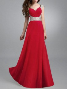 Red Patchwork Grenadine Pleated Big Swing Prom Evening Party Maxi Dress