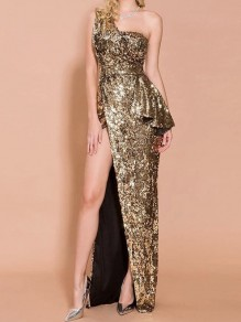 Golden Patchwork Sequin Asymmetric Shoulder Ruffle Side Slits Sparkly Glitter Birthday Party Maxi Dress