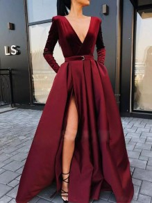 Red Pleated Pockets Side Slits Big Swing V-neck Prom Evening Party Maxi Dress